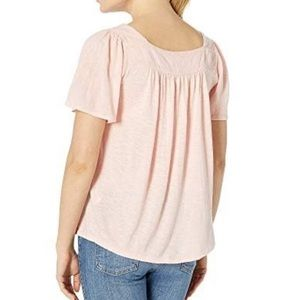 LUCKY BRAND EMBROIDERED SQUARE NECK TOP MEDIUM